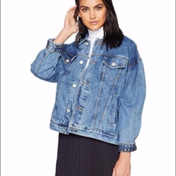 Blank NYC Jackets & Blazers - BlankNYC Oversized Studded Trucker Denim Jacket